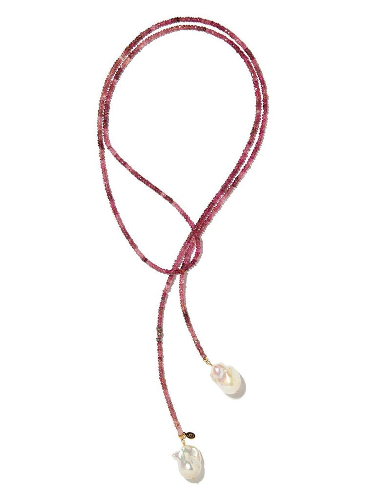 Pink Tourmaline Classic Gemstone Lariat with Diamond Accents