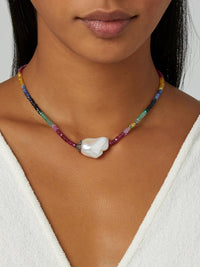 Ruby, Emerald, and Sapphire Diamond Baroque Pearl Necklace Photo 2