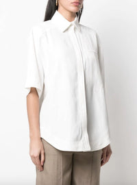 Linen Blend Boxy Shirt Photo 3