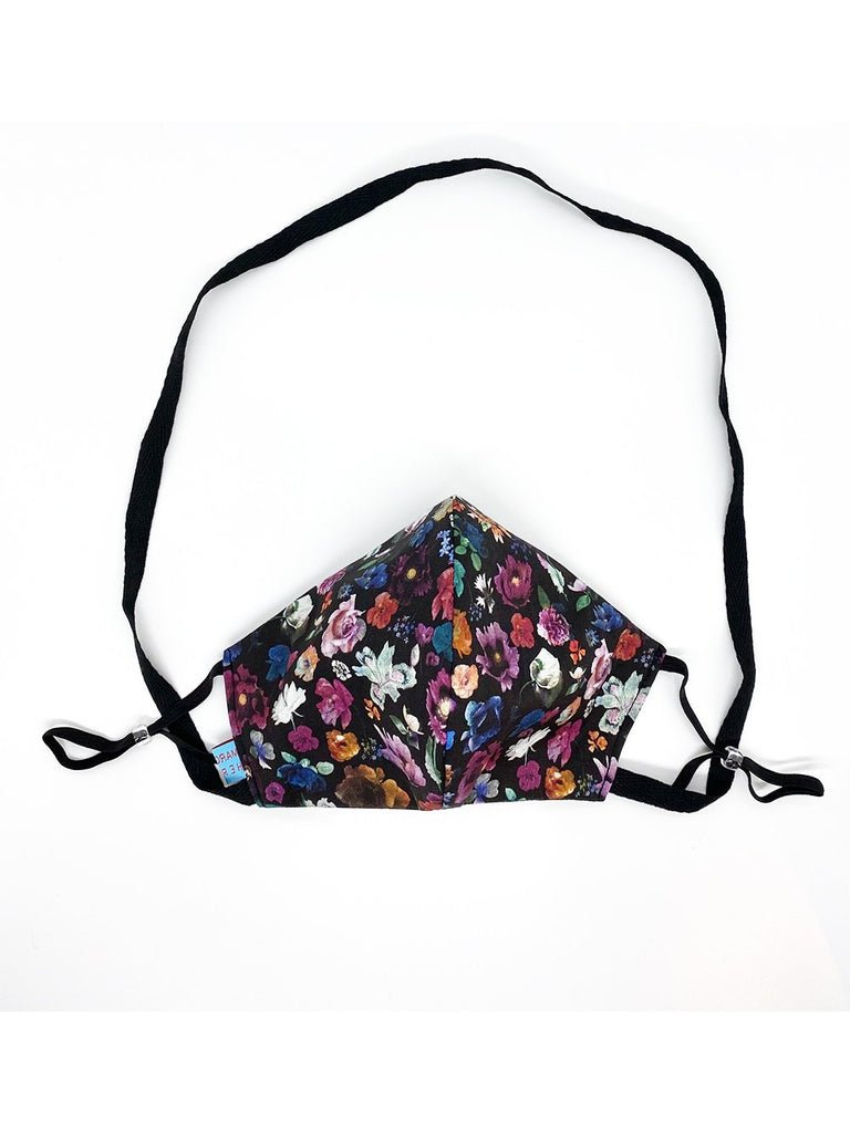 Black Floral Mask with Lanyard