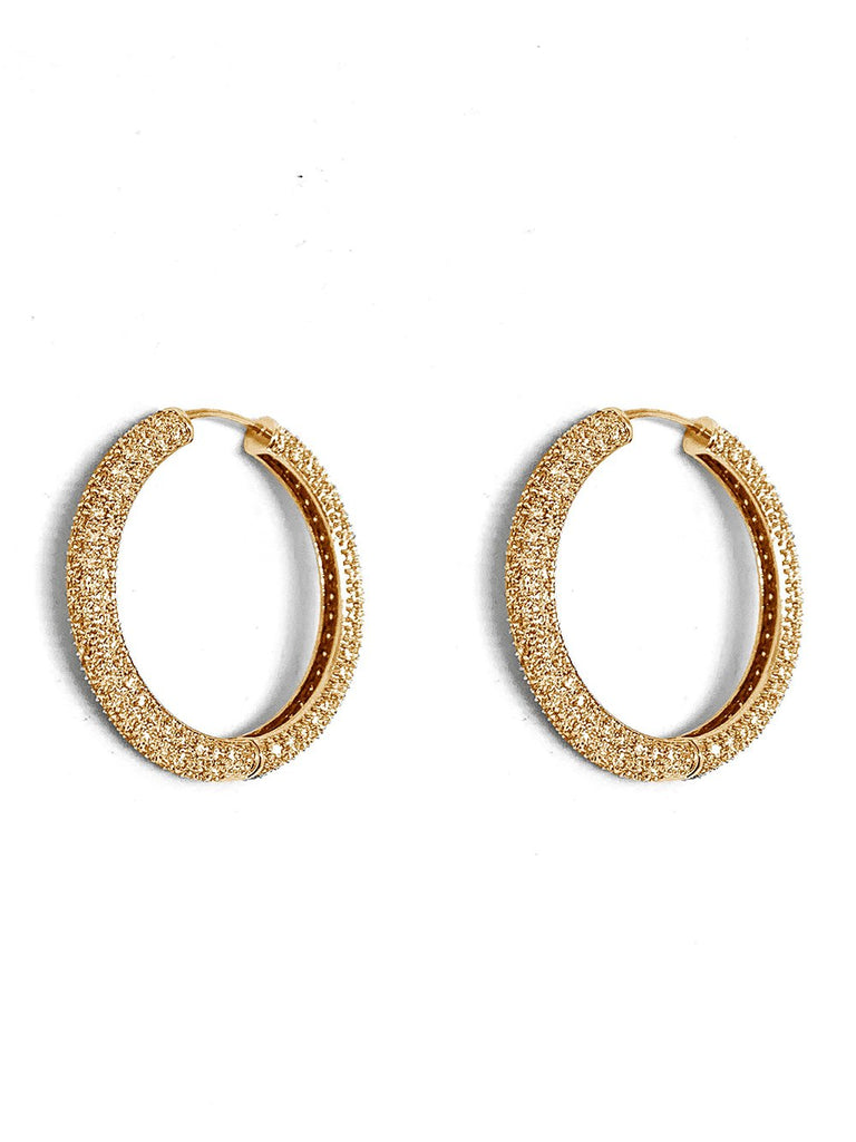 Large Pavé Gold Hoop Earring