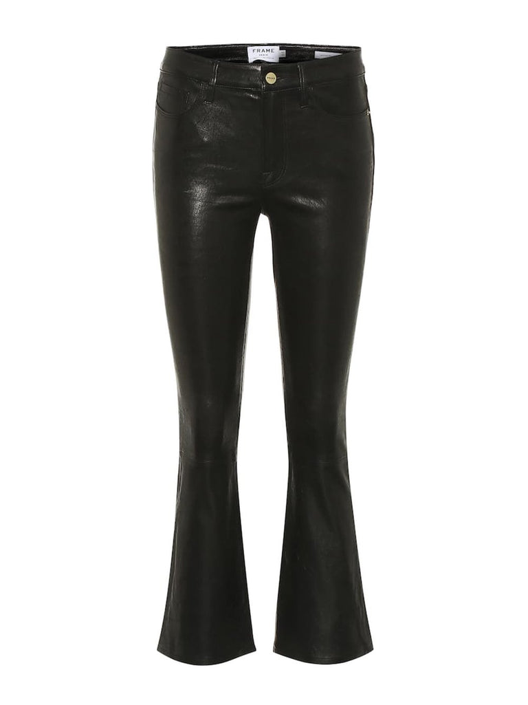 Le Crop Flare Leather Pant