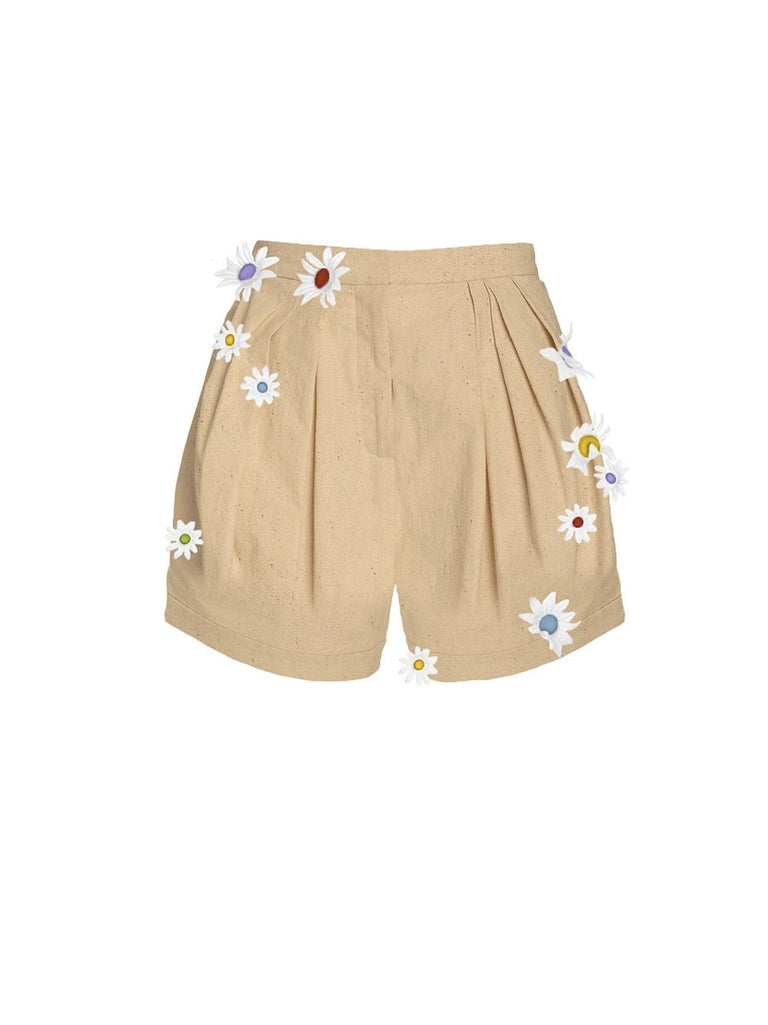 Easy Pleated Daisy High Waisted Shorts