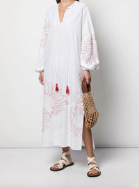 Mayfair Caftan Slide Slit Embroidered Dress Photo 2