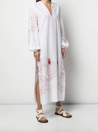 Mayfair Caftan Slide Slit Embroidered Dress Photo 3