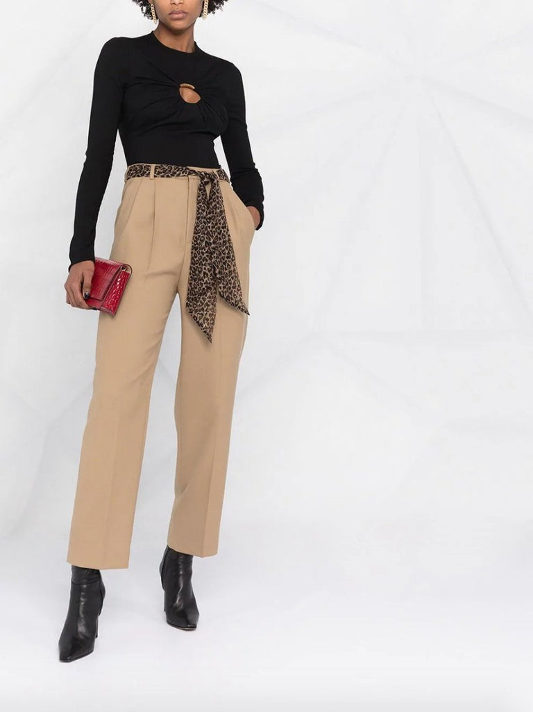 High Waisted Leopard Scarf Straight-Leg Pants