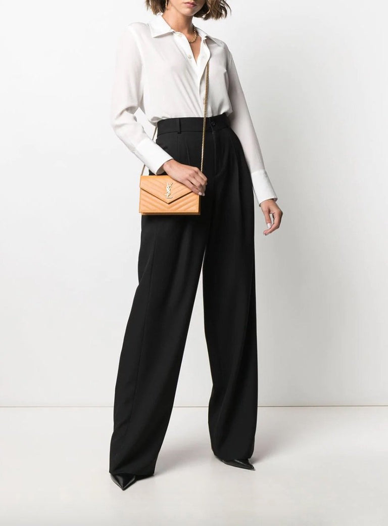 Low Waisted Flare Front Pleated Pants
