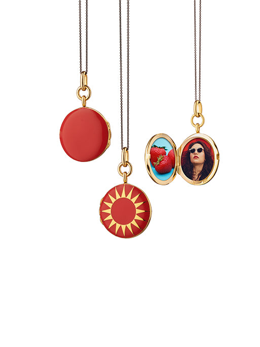 Red Enamel Round Locket
