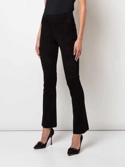 Bonded Neoprene Cropped Flare Pant in Black
