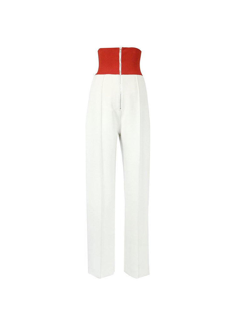 Knit-Trim Crepe Wide Leg Trousers