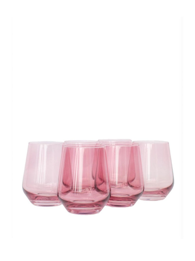 Stemless Wine Glass in Rose- Set of Six