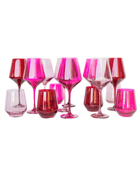 Stemless Wine Glass in Red- Set of Six Photo 3