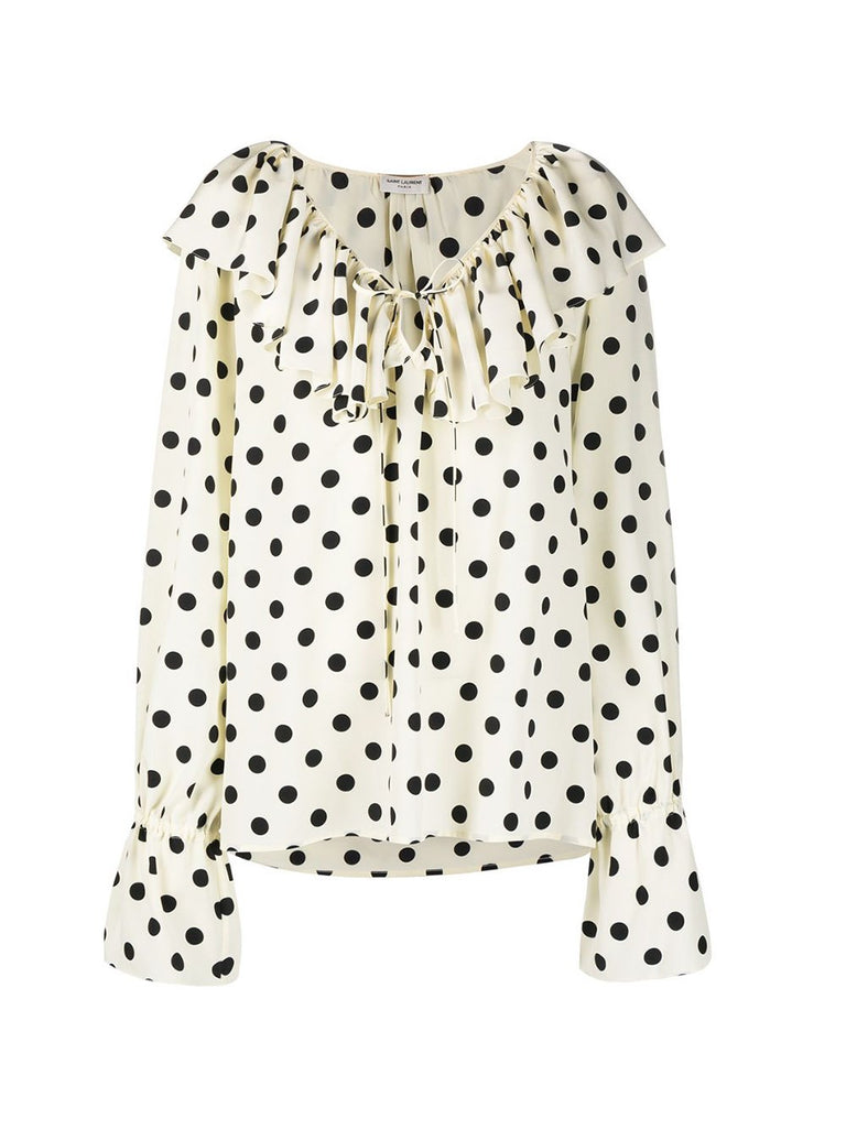 V-Neck Polka Dot Ruffle Top