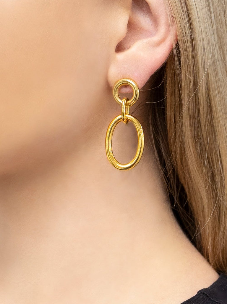 Gold Oval Drop Earring