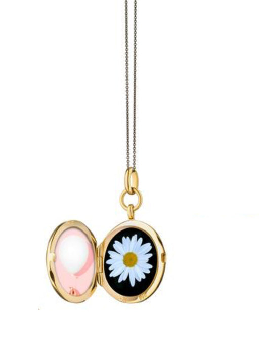 Round Locket with White Enamel Sun