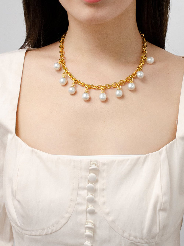 Gold Chain Link Necklace with Pearl