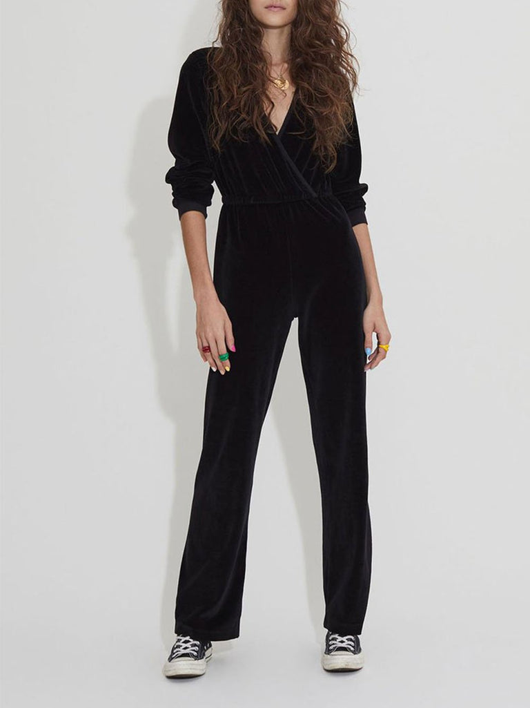 V-Neck Velour Jumpsuit