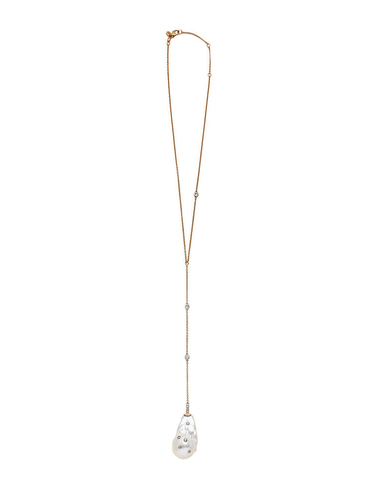 Diamond Studded Baroque Pearl Lariat