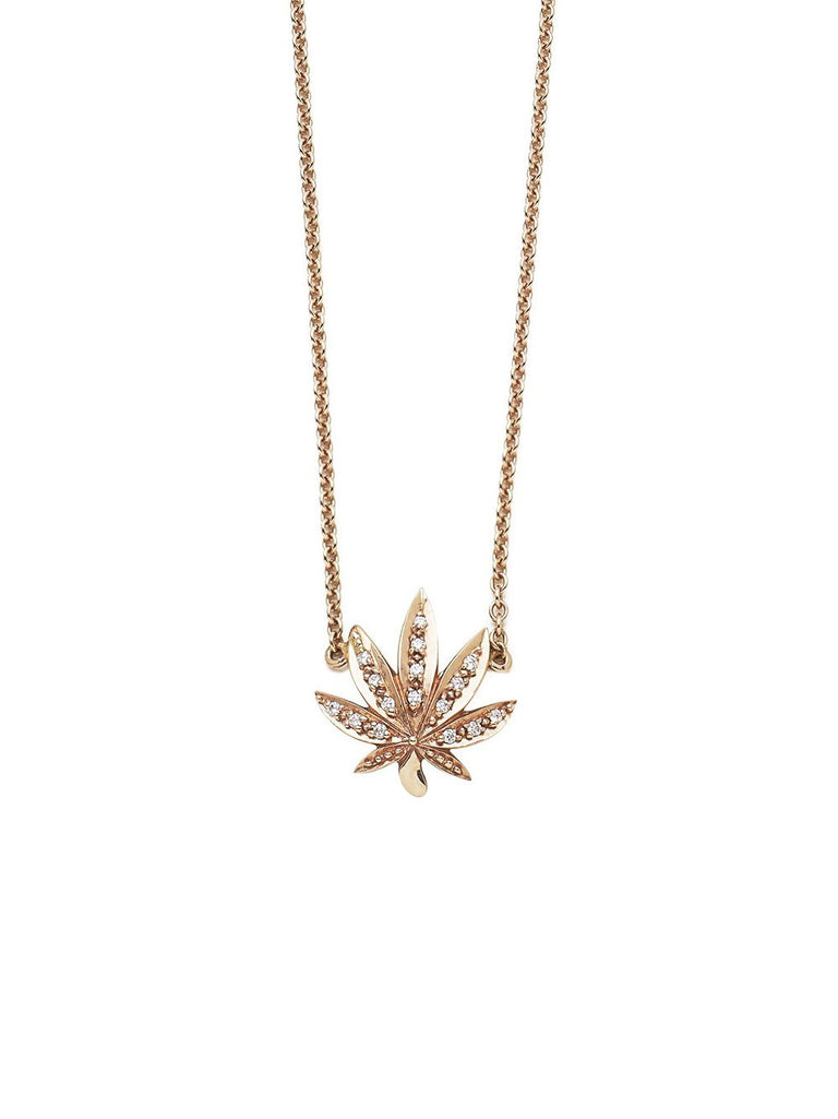 Rose Gold Pot Leaf Necklace