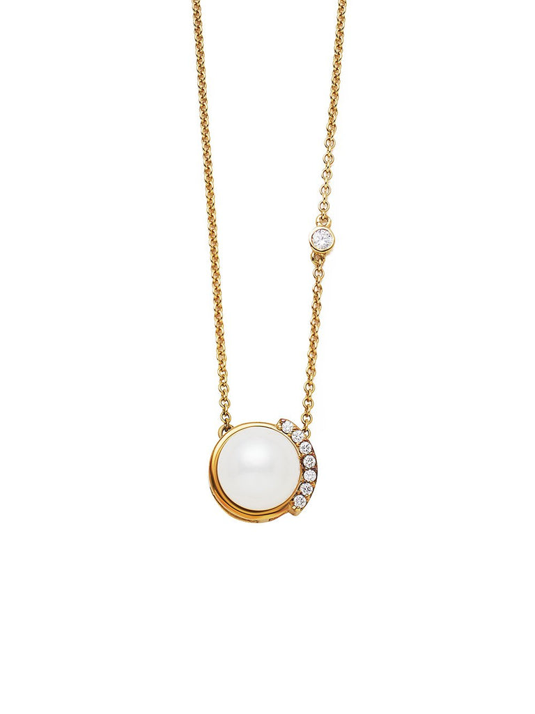 Gold Floating Diamond Pearl Pendant Necklace