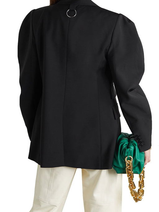 Tropical Wool Cutout Sleeve Blazer