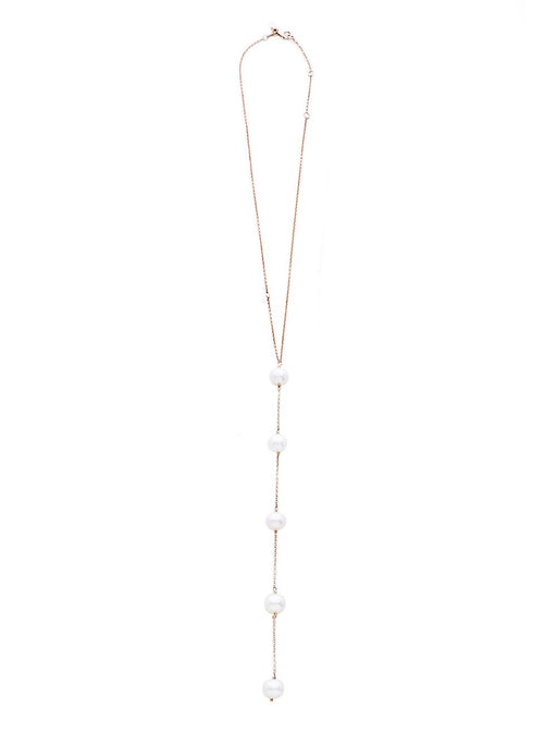 Gold Five Pearl Diamond Lariat