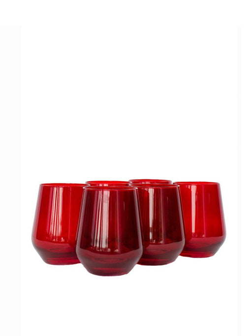Stemless Wine Glass in Red- Set of Six