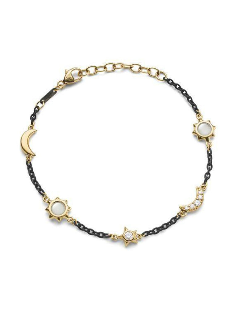 Black Steel Sun Moon Stars Bracelet