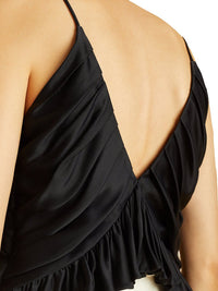 Mista Ruched Crepe Black Top Photo 4
