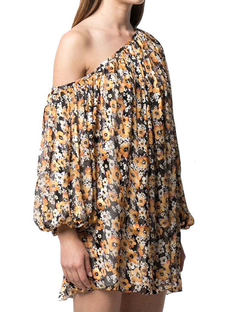 One Shoulder Mini Floral Silk