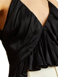Mista Ruched Crepe Black Top Photo 3