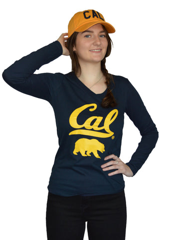 Cal Bear Long Sleeve V-neck