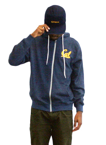 M V Sport heather navy Cal script  Zip Hood
