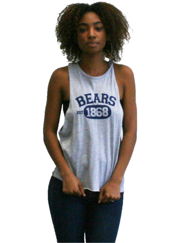 1868 Bears Women's Muscle tee.    All items are trademarked by University of California Berkeley with their official logos. Cal Script, Campanigle, California Walking Bear, Oski mascot bear, California Golden Bears, UC Berkeley school seal, California Football and such.
