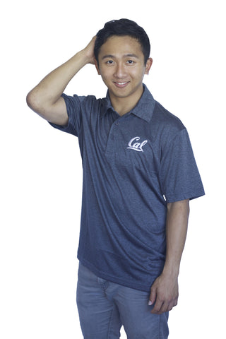 Cal Script Dri-fit Heather Charcoal Polo