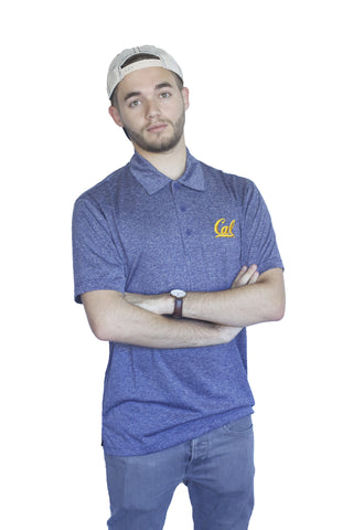 Cal Script Dri-fit Heather Blue Polo