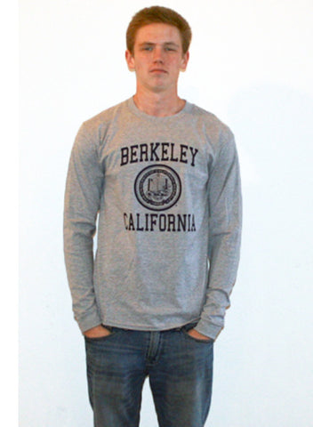 Berkeley California Seal Long Sleeve Tee. All items are trademarked by University of California Berkeley with their official logos. Cal Script, Campanigle, California Walking Bear, Oski mascot bear, California Golden Bears, UC Berkeley school seal, California Football and such.