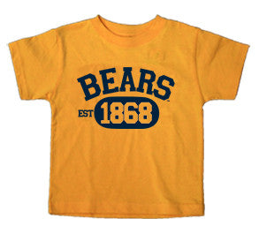 Bears 1868 Youth Tee. All items are trademarked by University of California Berkeley with their official logos. Cal Script, Campanigle, California Walking Bear, Oski mascot bear, California Golden Bears, UC Berkeley school seal, California Football and such.