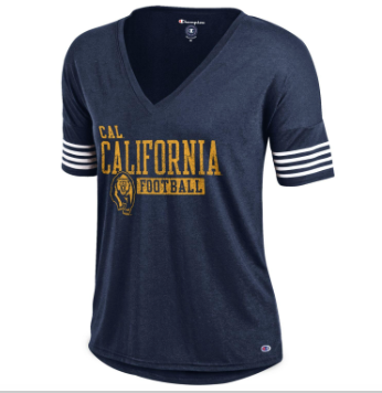 Champion California Football Stripe Sleeve V-neck