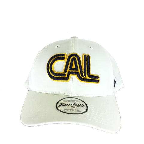 White Cal Block Letter Hat