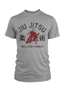 Jiu Jitsu Skill Over Strength Heather Grey