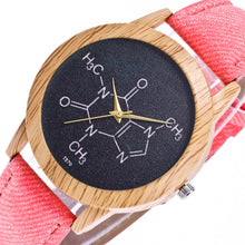 Load image into Gallery viewer, Wooden Caffeine Molecule Chemistry Watch
