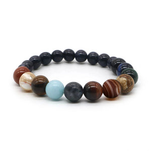 Sun & Eight Planets Natural Stone Solar System Bracelet