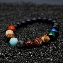 Load image into Gallery viewer, Sun & Eight Planets Natural Stone Solar System Bracelet