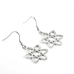 Stainless Steel Atom Drop Earrings | Physics Earrings