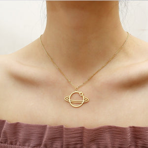 Stainless Steel Saturn Planet Necklace