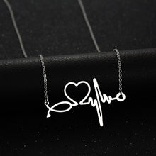 Load image into Gallery viewer, Stainless Steel Stethoscope Heartbeat Necklace - Gifted Guppy
