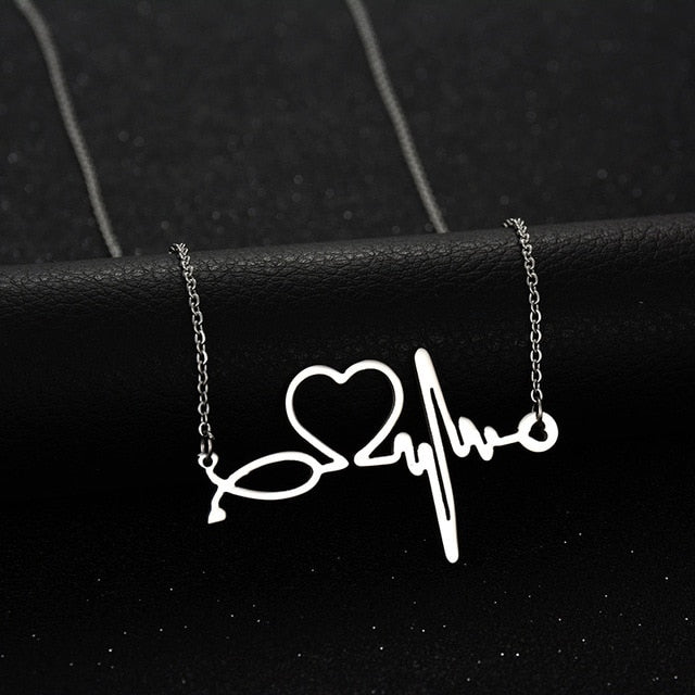 Stainless Steel Stethoscope Heartbeat Necklace - Gifted Guppy