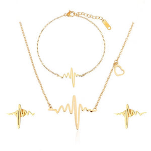 Simple Heartbeat Stainless Steel Jewelry Set - Gifted Guppy