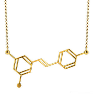 Stainless Steel Resveratrol Molecule (AKA, Wine!) Necklace - Gifted Guppy